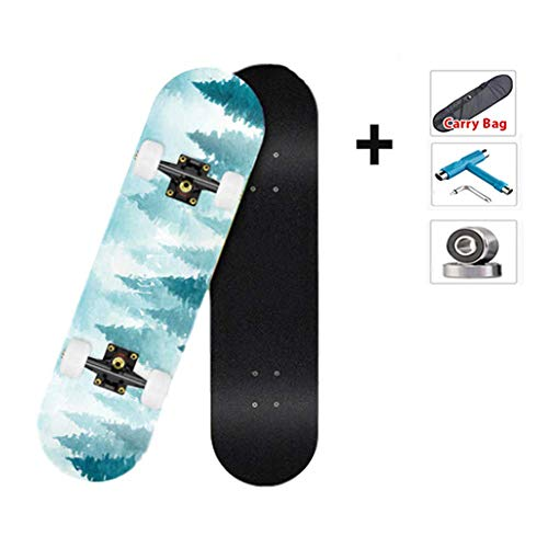 New WZHESS 31 x 8 Complete PRO Skateboard,7 Layer Maple Wood Double Kick Tricks Skate Board Concav...