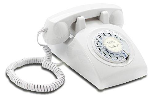 Opis 60s Cable mit klassischem Deutsche Post Pappeinleger: Retro Telefon im sechziger Jahre Vintage Design mit Wählscheibe und Metallklingel (weiß)