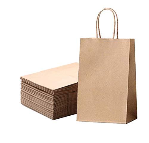 Papiertüten natur mit henkel,kraft papiertüte,Kraftpapier mit Griff,Geschenktüten papier,Tüten Papier,Partytüten aus Papier Für Weihnachts,Geschenk, Einkaufen(24 Stück, 21 * 8 * 16)