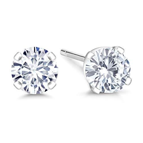 Gem Stone King IGI Certified 14K White Gold Lab-Grown Created Diamond Stud Earrings (1/2 Cttw, G-H Color, VS1-VS2 Clarity)