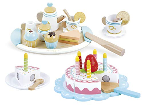 leomark Conjunto de Madera para una Fiesta de cumpleaños - 2 en 1 - Tetera de Madera + Torta de cumpleaños con Accesorios, para cocinas de Juguete, para niños, Multicolor