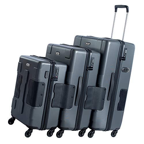 TACH V3 3-Piece Hardcase Connectable Luggage & Carryon Travel Bag Set | Double Wheels Rolling Suitcase with Patented Built-In Connecting System & Charger Port | Easily Link & Carry 9 Bags At Once DG