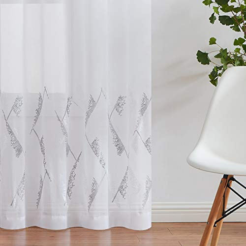 Jubilantex White Sheer Window Curtain Panels for Living Room with Gray Embroidery Diamond Patterned Linen Farmhouse Drapes 95 Inch Rod Pocket Window Treatment for Patio, 2 Panels