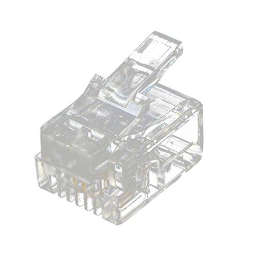 SODIAL(R) 20 pezzi 6P2C 2 pin RJ11 connettore a spina modulare connettore cavo chiaro