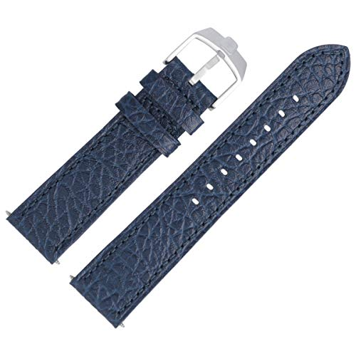 SWISS MILITARY Uhrenarmband 24mm Leder Blau Struktur - 6-4224.04.003
