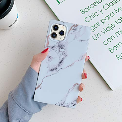 Square Marble iPhone 11 Pro Case,YTanazing Slim Thin Glossy Soft Flexible Shockproof Square Edges Fashion Phone Case Bumper Cover for Apple iPhone 11 Pro 5.8 inch (White)