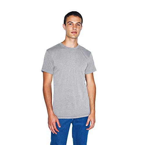 American Apparel Unisex Tri-Blend Crewneck Track Short Sleeve T-Shirt - USA Collection, Athletic Grey, X-Small