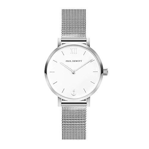 PAUL HEWITT Armbanduhr Damen Sailor Line Modest White Sand - Edelstahl Damen Uhr (Silber), Damenuhr Edelstahlarmband in Silber, weißes Ziffernblatt