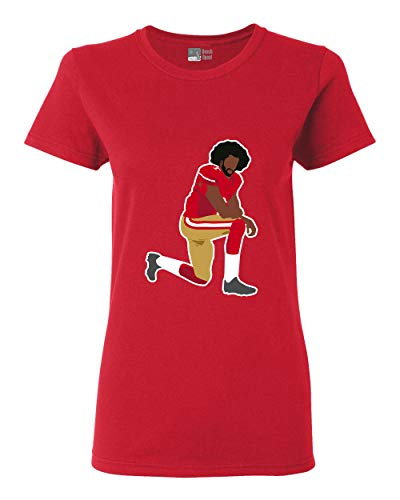 Ladies Kaepernick 7 Kneel Stand Football Protest Kap Front Back DT T-Shirt Tee (Small, Red)
