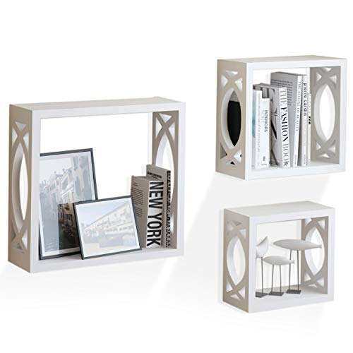 White Wooden Cube Floating  Shelves for Living Rooms