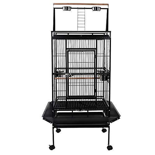 Display4top Black Large Wrought Iron Breeding Bird Cage Flight Cage for...
