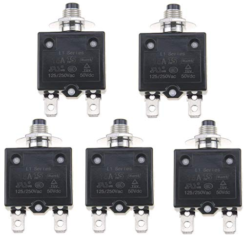 ZOOKOTO 5PCS 125-250V AC 50V DC Push Button L1 Series Manual Reset Thermal Circuit Breaker 15A