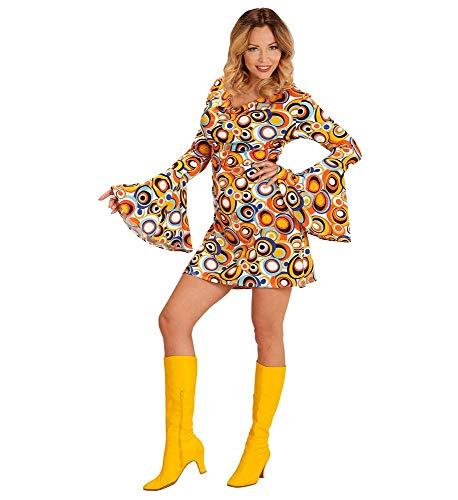 shoperama 70er Jahre Retro Kleid Bubbles Langarm Disco-Queen Damen-Kostüm Groovy Siebziger 70s Schlager Festival, Größe:S