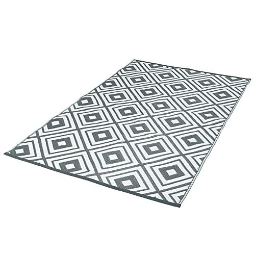 IDMarket - Tapis extérieur ELMA géométrique Gris et Blanc 160x260 cm