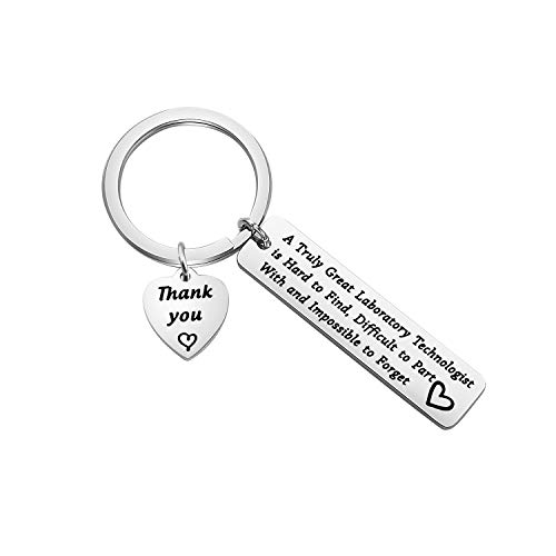 FEELMEM Laboratory Technologist Gift Medical Technologist Gift A Great Laboratory Technologist Is Hard to Find Laboratory Keychain Lab Tech Jewelry for Pathologist Microbiologist Chemist Gift (silver)