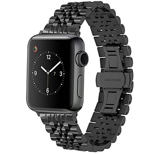 Juntan Cinturino Intelligente Compatible for Apple Watch 42mm 44mm iWatch Series 6 SE 5 4 3 2 1 Bracciale Acciaio Inossidabile Cinturino Uomo Donna Nero