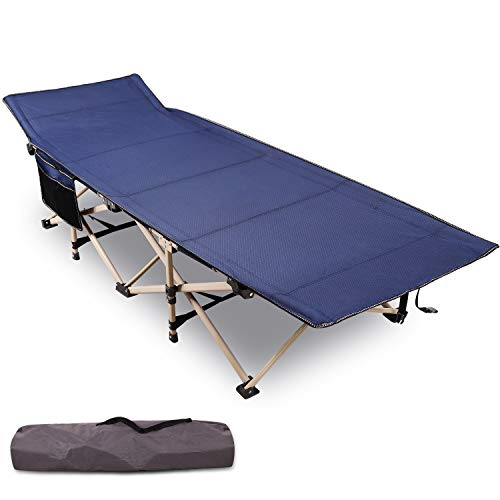 Varbucamp Folding Camping Cots for Adults, Updated Sturdy Steel Heavy Duty Sleeping Cots for Heavy People 500 Pounds, Portable with Carry Bag, Blue