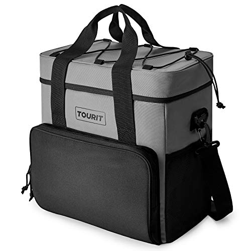 TOURIT Cooler Bag 35-Can Insulated Soft Cooler Portable Cooler Bag 24L Lunch Coolers for Picnic, Beach, Work, Trip, Grey