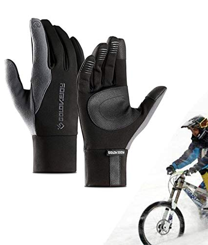 CXW Winter Fahrradhandschuhe für Männer Frauen, Wasserdichter Touchscreen Kletterhandschuhe für Lauftraining im Freien (Schwarz & Grau, XL)