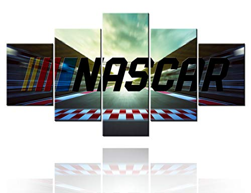 TUMOVO Wall Art for Living Room Extreme Sport Pictures NASCAR Motorsport Paintings 5 Multi Panel Canvas Prints Artwork Contemporary House Decoartions Framed Gallery-Wrapped Ready to Hang(60''Wx32''H)