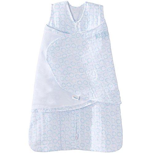 HALO 100% Cotton Muslin Sleepsack Swaddle Wearable Blanket, Circles Turquoise, Small