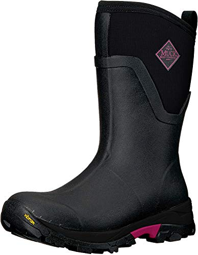 Muck Boot Women's Arctic Ice Mid Rubber Black/Pink Boots, 9 US