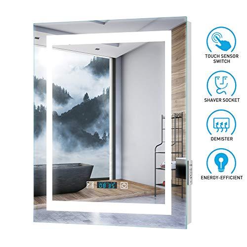 Tokvon Ripple Badspiegel LED Badezimmer Spiegel Wandspiegel Aluminium mit LED Beleuchtung Digital Uhr Beschlagfrei Rasier Steckdose Touch 50x70cm