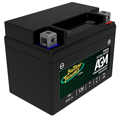 Battery Tender AGM Motorcycle Battery: Absorbent Glass Mat Battery for Motorcycles, ATVs, UTVs and More - High Performance 12V 4aH 80 CCA Powersports Engine Start Battery - BTX4L-FA