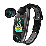 Smart Watch with Bluetooth Earphone, TWS Wireless Earbuds with Fitness Tracker 2-in-1, Heart