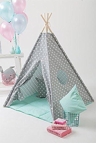 erdbeerwoody Spielzelt mit Bodenspielmatte und Kissen- Gepunktetes Tippi Indianerzelt Spielhaus Zelt Set-100% Baumwolle + Birkenholz, Mint