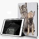 Carcasa para iPad 10.2 Inch, iPad Air 7.ª Generación ,Lindo Gatito Abrazando Chihuahua Cachorro Aislado Perro Animales Pata Grupo Vida Sil,incluye soporte magnético y funda para dormir/despertar