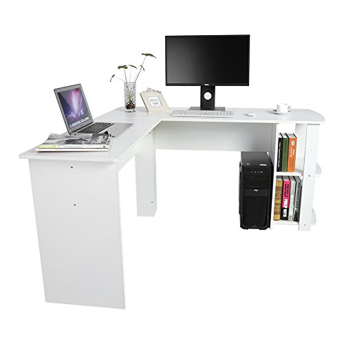 Stolik komputerowy, biurko narożne w kształcie litery L, biurko z regałami, stół roboczy, stół łączony, do użytku domowego i biurowego (biały)