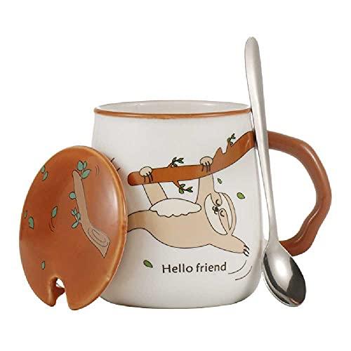 Taza de cerámica linda de la historieta con la tapa y la cuchara taza del estudiante