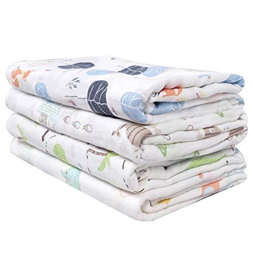 Softan Baby Musselin Swaddle Decke Tücher, Bambus Baumwolle Einschlagdecke,120 x 120 cm Receiving Decken
