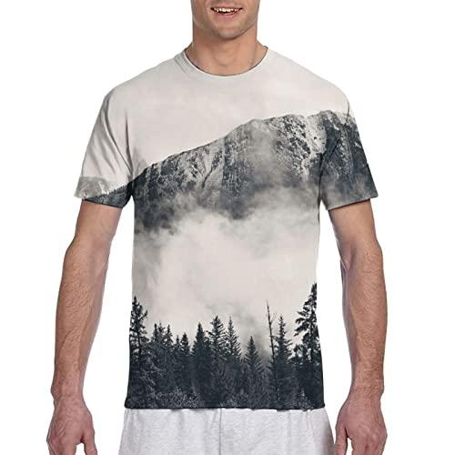 Camiseta de manga corta con diseño de mariposa de árbol y corazón para hombre, Montañas neblinosas, S