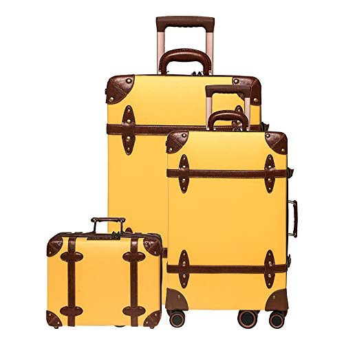 urecity vintage leather luggage set of 3, with TSA approved lock and 4 double 360 spinner wheels (3-Piece Set (14/20/28), Mustard Yellow)