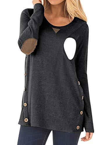 CzzzyL Blouse Breastfeeding Tops, Womens Long Sleeve Nursing Tshirt Button Decor Postpartum Clothes Pregnancy Maternity Tunic Latched Mama(Grey,Small)