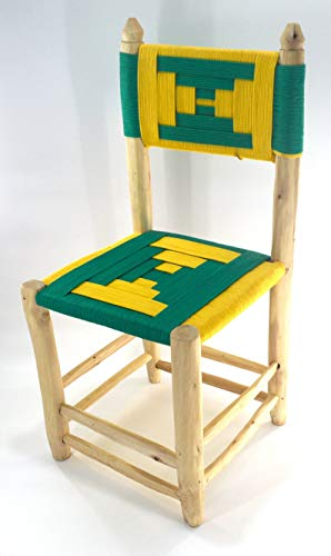 Moroccan craft dining chair stool from wicker and yellow and green braided rope and natural laurel wood - Seat W40 L40 H 43 cm Back 90 cm
