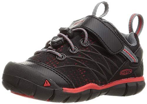 KEEN Chandler CNX Casual Shoe Hiking, Raven/Fiery Red, 12 US Unisex Little Kid