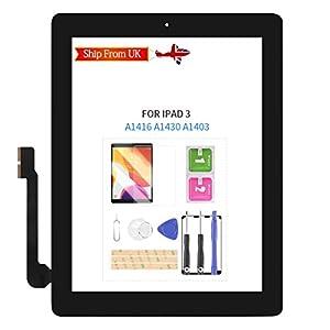 SRJTEK para iPAD 3 pantalla táctil de repuesto para iPad 3 3ª generación A1416 A1403 A1430 Sensor digitalizador Panel de vidrio Kit de piezas de reparación, incluye botón de inicio (negro)