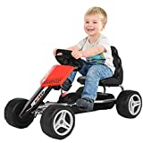 Wotryit Racing Go Kart -4 Wheel Powered Ride On Toy, Kids' Pedal Cars for Outdoor, Low Profile Rubber Tires, Brake, Boys and Girls Outdoor 3-8 Age Gift Car,31.4x20x19.6in,Red