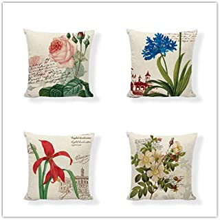 Set of 4,British Retro Vintage Postage Stamp Decorative Throw Pillow Covers,Rose,Tulip,Orchid,Blossoms,Postmark,One-Side Printed,Cotton Linen,18x18 Inch(45x45cm)