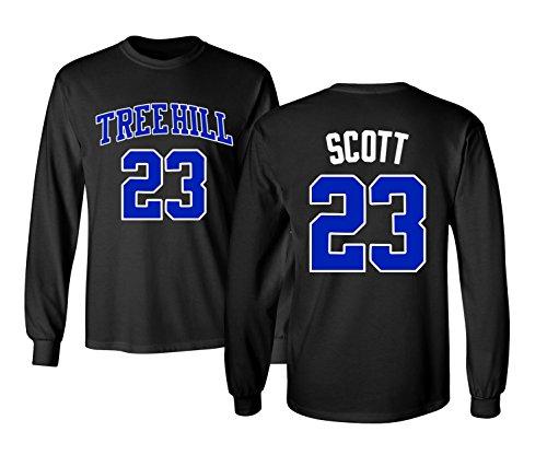 KINGS SPORTS Ravens Basketball Movie #23 Nathan Scott One Tree Hill Jersey Style Men's Long Sleeve T Shirt (Black,S)