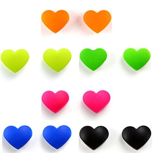 JewelryWe Schmuck 6 Paare MAGNET Ohrstecker, Liebe Herz Ohrringe Ohrschmuck FAKE PLUG Kein Loch MAGNETOHRRINGE Fake-Lippenring, für Damen und Herren, 6 Farben
