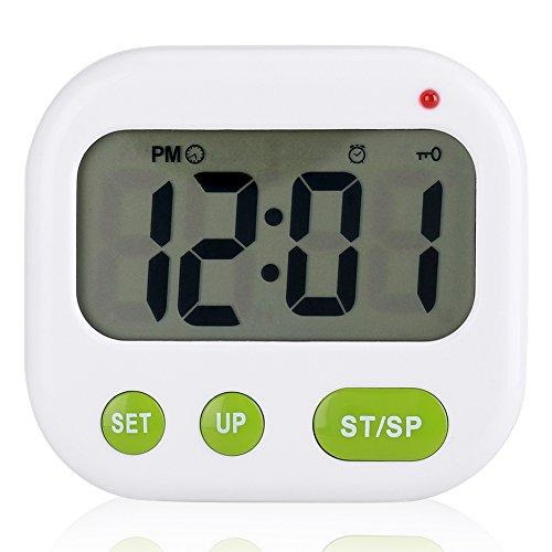 Reloj Despertador Digital, música/vibración LCD Digital Reloj Despertador electrónico Volumen de Alarma Ajustable Temporizador de Reposo