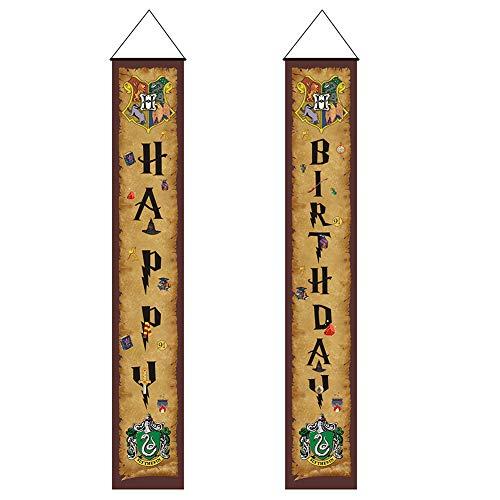 Harry Potter Happy Birthday Door Couplet Banners Para Colgar En Niños y Niñas Wizard Party Decoration Kids Magic Theme Party Supplies Marrón Bienvenido Porche Letrero Para Interiores Y Exteriores