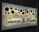 Aarushi Creations Personalised Home/Door Laser Cut Name Plate Mirror with Lighting (12 x 6 Inch, Black and White)