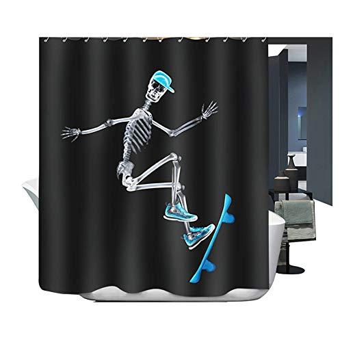 HarsonundJane Wasserdichter Duschvorhang, Polyester, Stoff, Dusche, Badewannenvorhang (Skateboard, 180 x 220 cm)