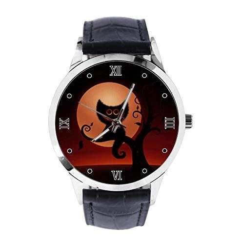 Grinsekatze Tapeten und Bilder Custom Armbanduhr Unisex Analog Quarz Uhr mit Lederband Uhren für Mädchen Jungen Armbanduhr