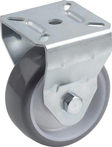 Metafranc Bockrolle Ø 75 mm - 70 x 59 mm Platte - Polyurethan-Rad - Weiche Lauffläche - Rollenlager - 75 kg Tragkraft / Transportrolle / Möbelrolle / Schwerlastrolle / 802910